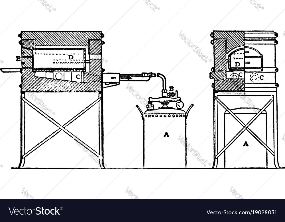 automatic oil muffle furnace vintage royalty free vector Muffle Furnace Large automatic oil muffle furnace vintage vector image