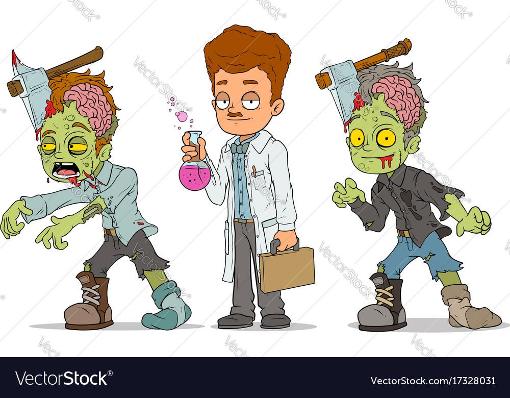 Cartoon walking zombie scientist characters set vector image