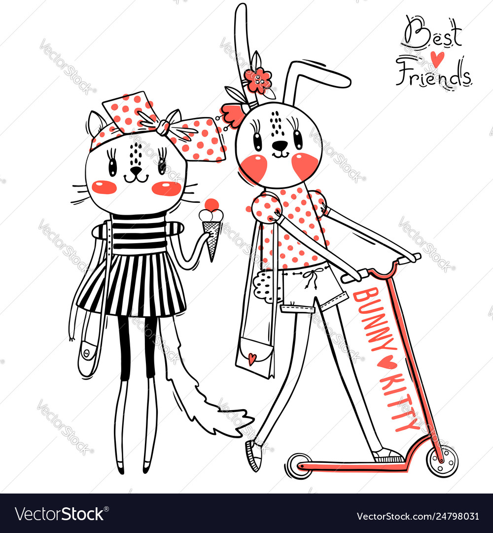Cute card with best friends bakitten and bunny