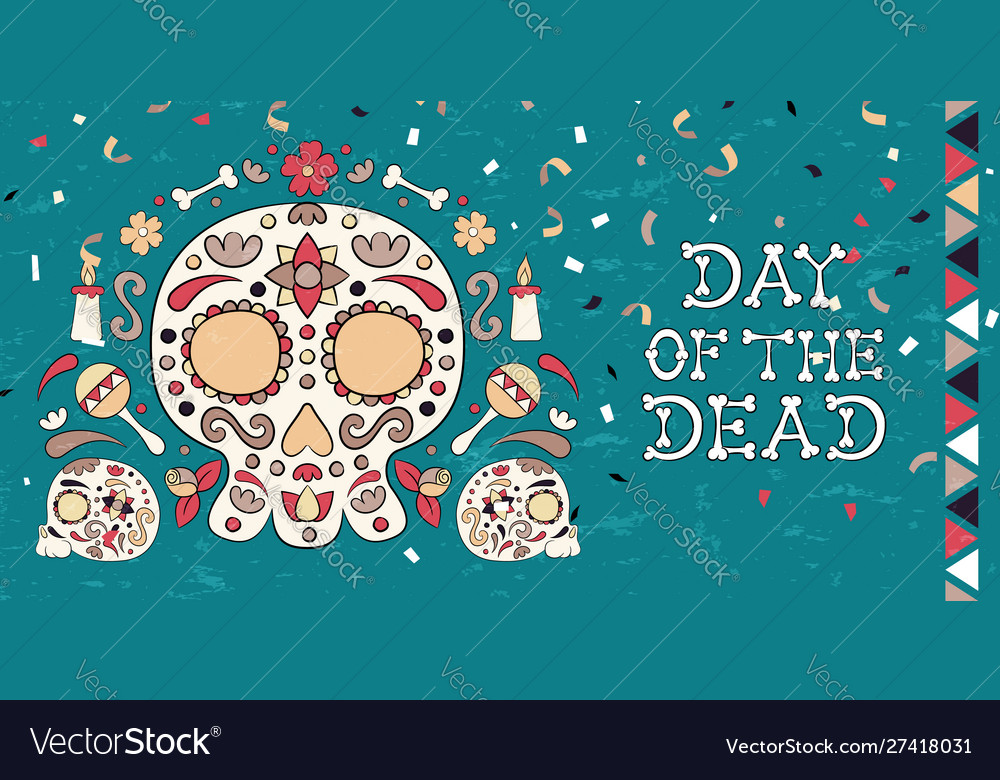 Day dead skull and flower decoration card