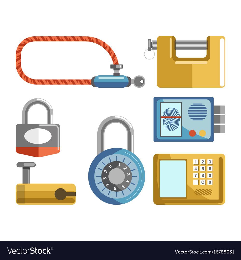 door locks different types padlock latches or vector image. Black Bedroom Furniture Sets. Home Design Ideas