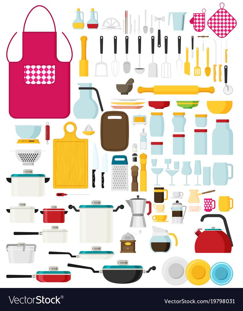 Kitchen utensils set flat kitchenware cookware
