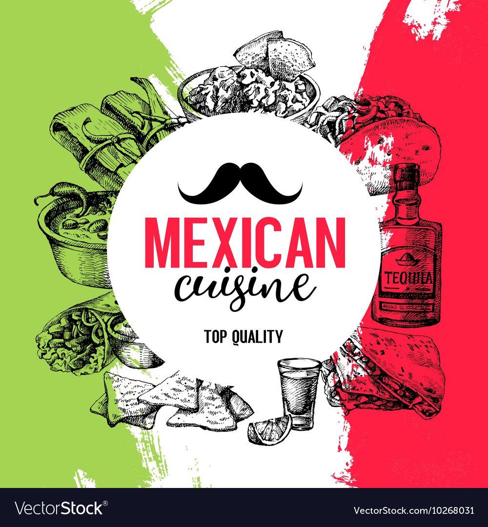Mexican traditional food background Hand drawn