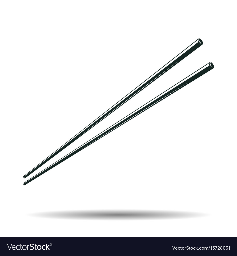 Monochrome japanese chopsticks sign vector image