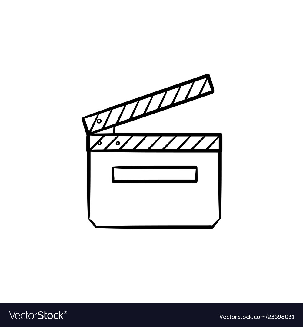 Movie clapboard hand drawn outline doodle icon