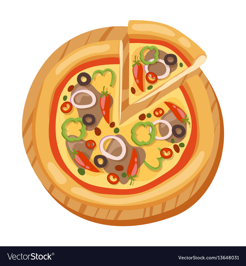 Pizza flat icons isolated