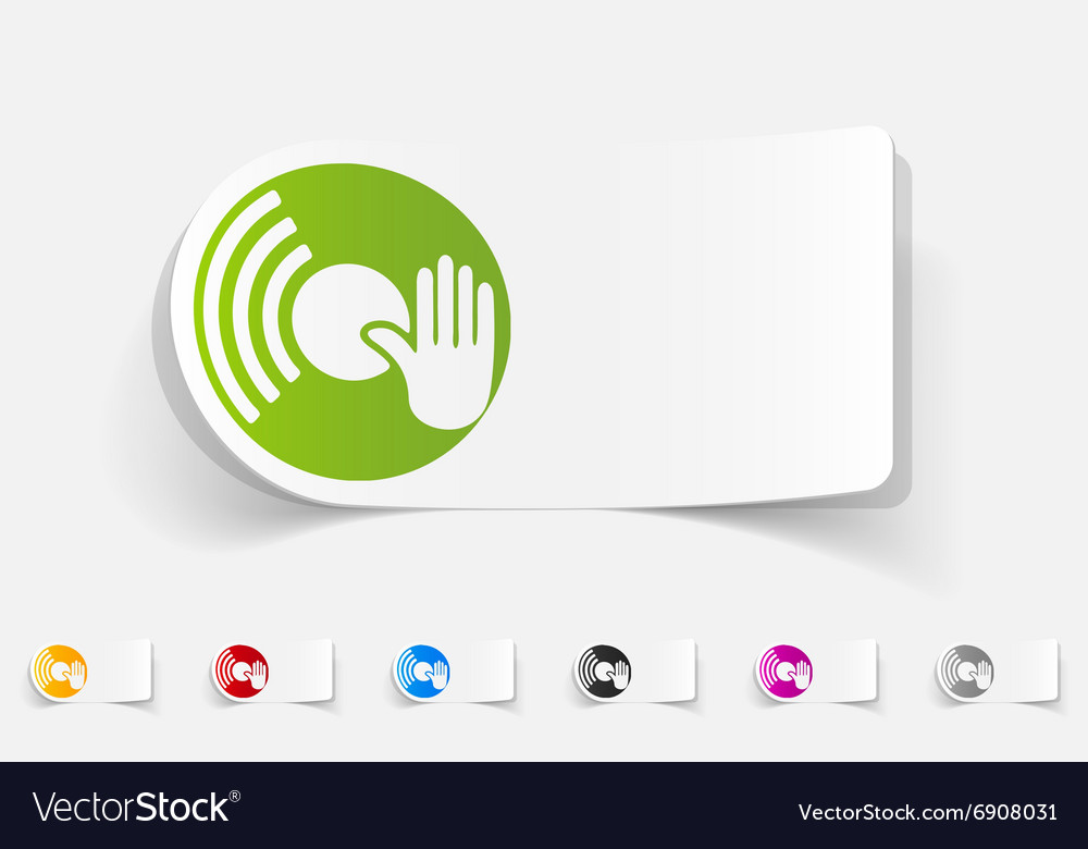 Realistic design element vinyl and dj hand vector image