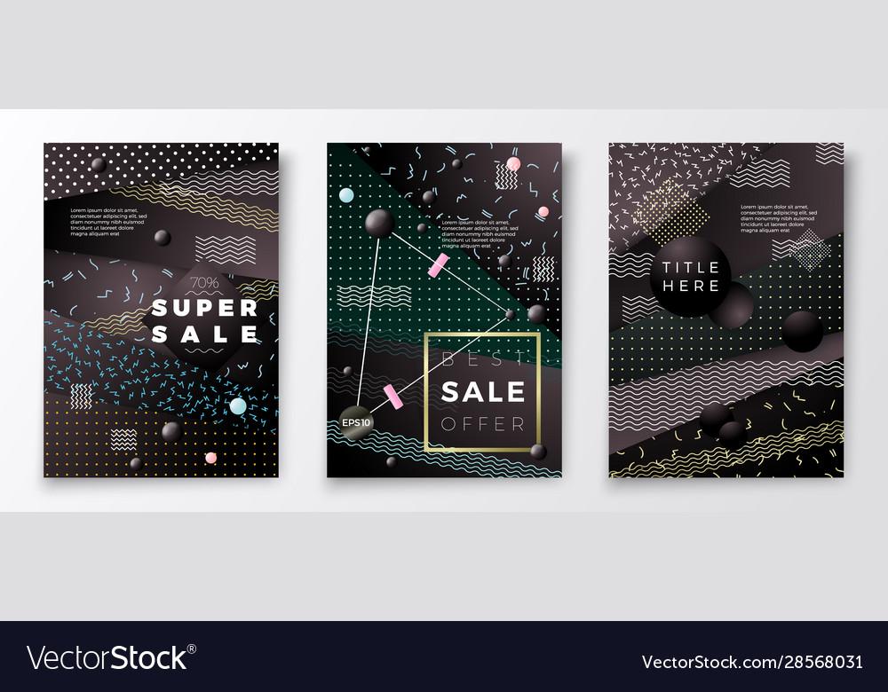 Realistic sale paper memphis style poster