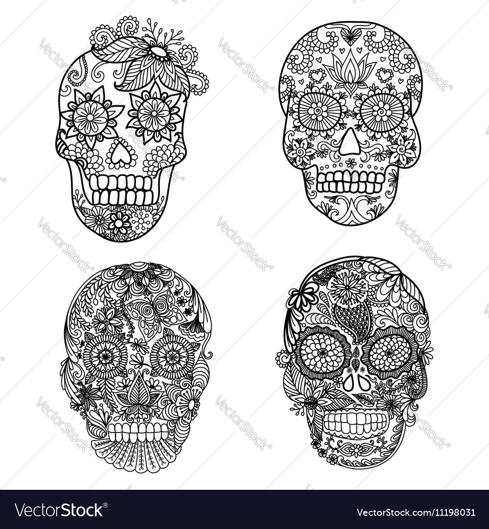 Skulls coloring