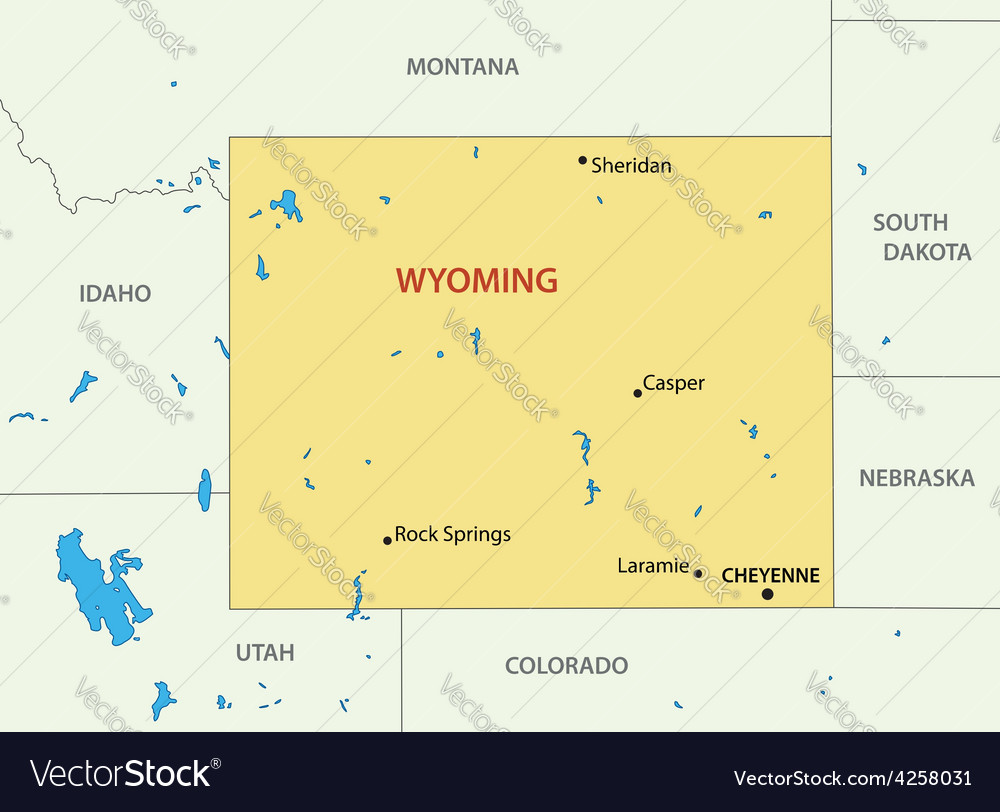 Wyoming - map Royalty Free Vector Image - VectorStock