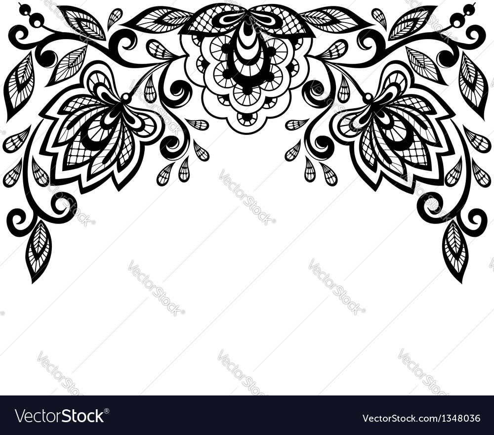 Black And White Lace Flowers And Leaves Isolated O