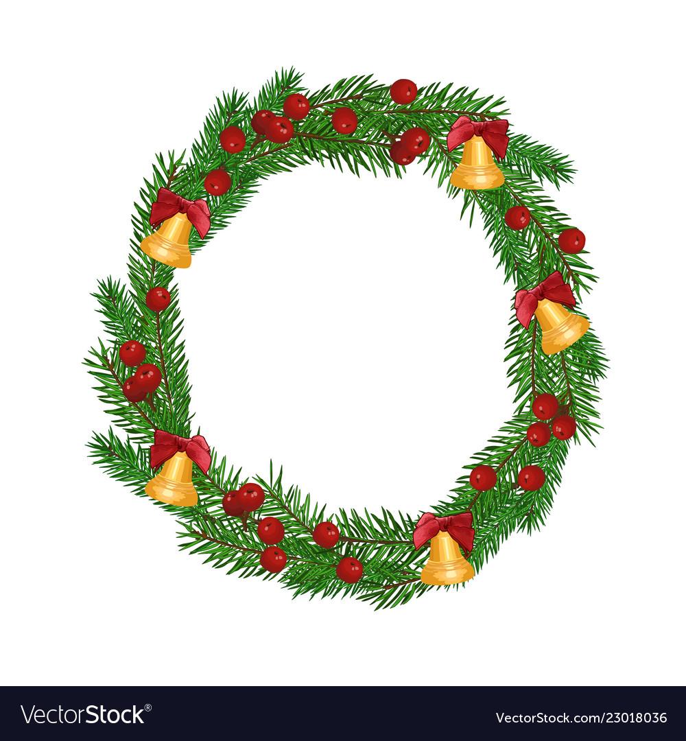 Christmas fir-tree wreath isolated on white