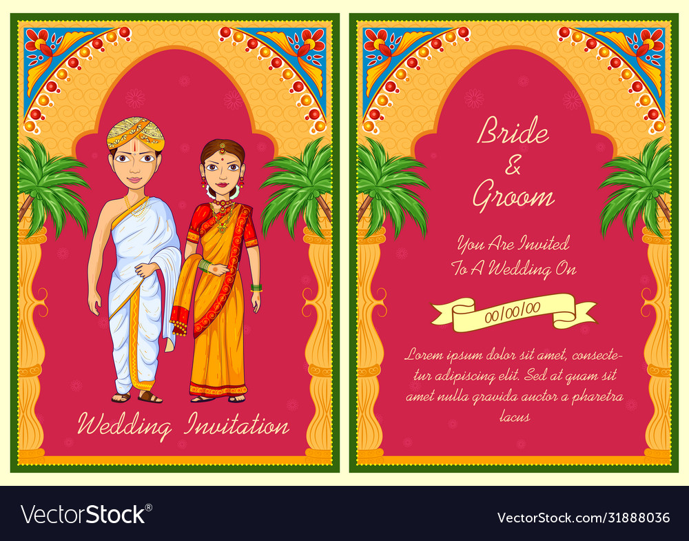 Couple On Indian Wedding Invitation Template Vector Image