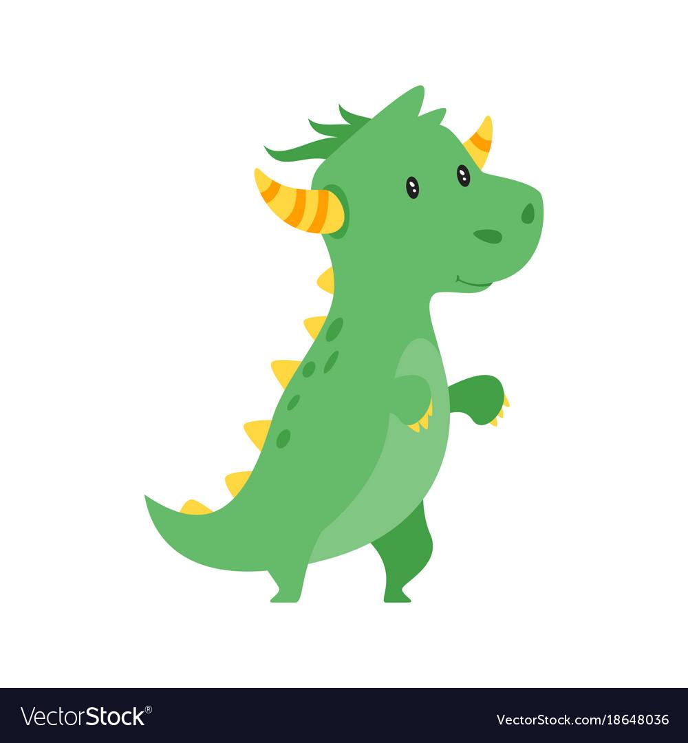 cute green dragon royalty free vector image vectorstock