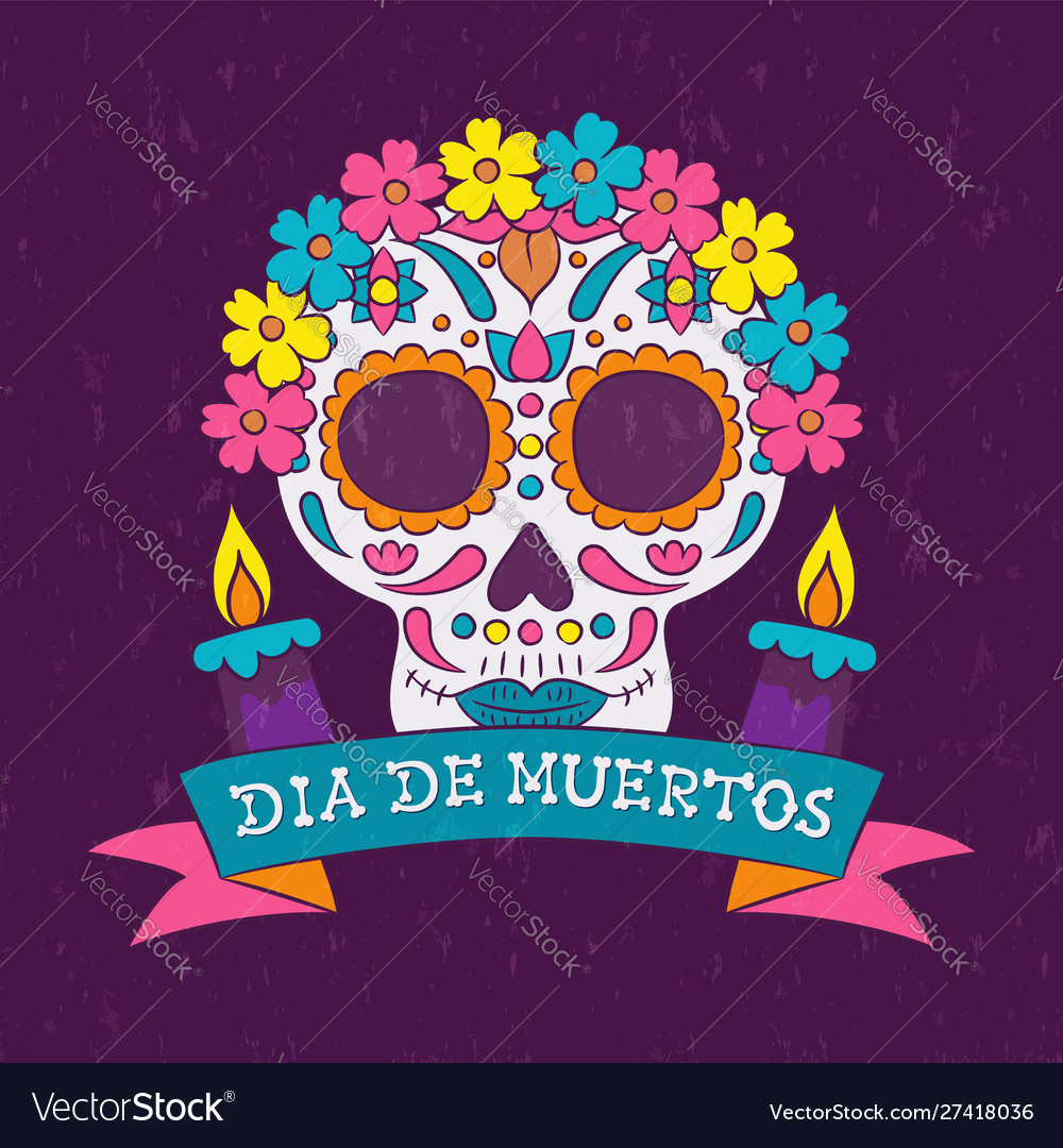 Day dead mexican flower skull candle card
