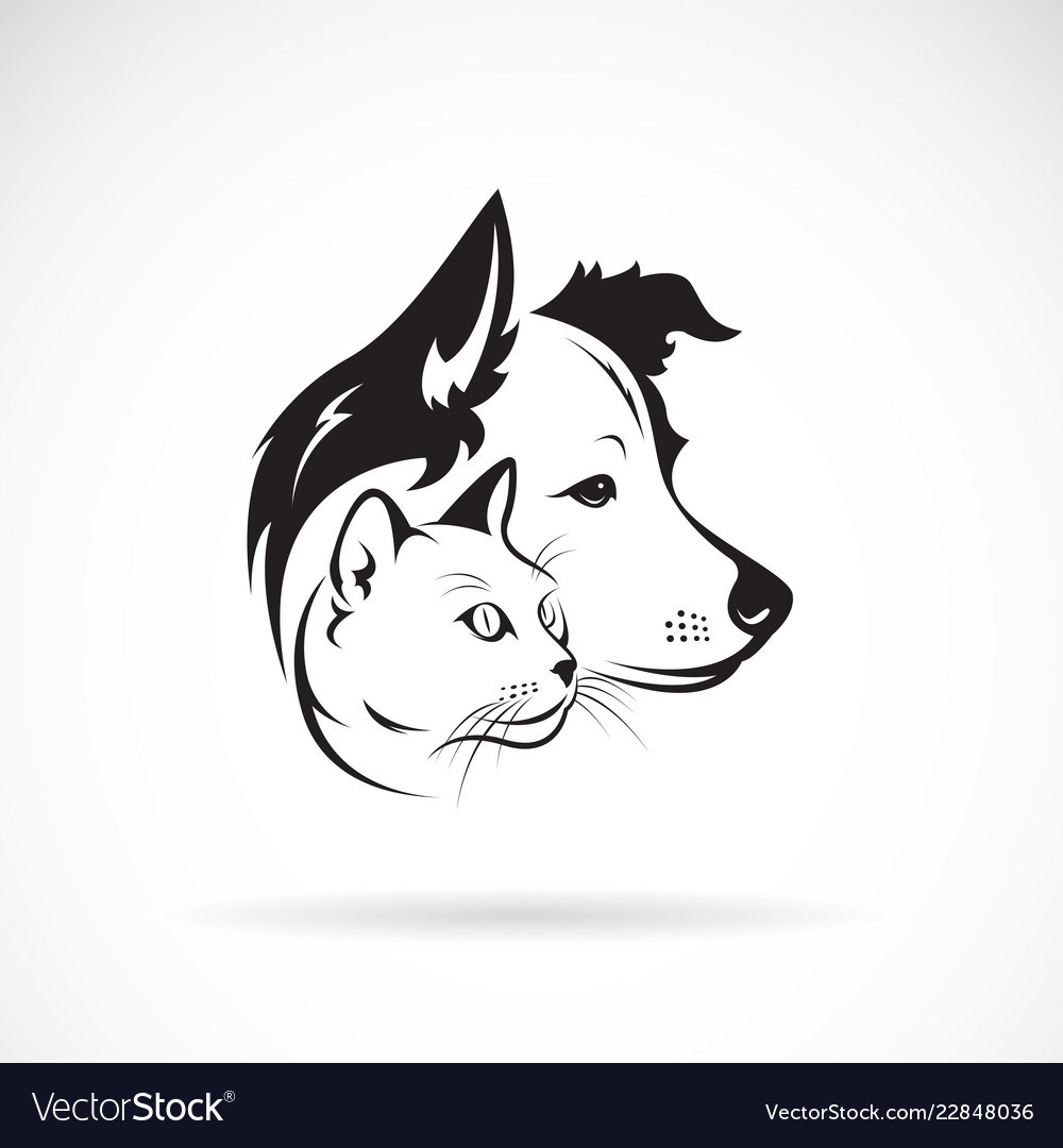 Dog and cat head design on a white background