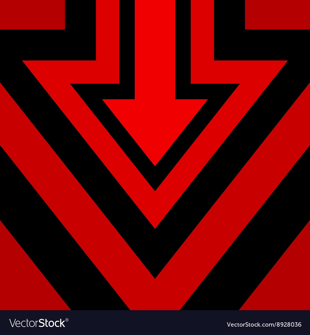 Down Arrow Background Red vector image