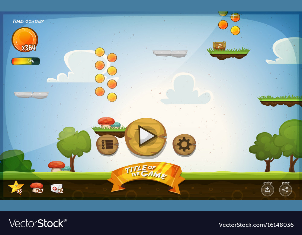 Platform game user interface for tablet