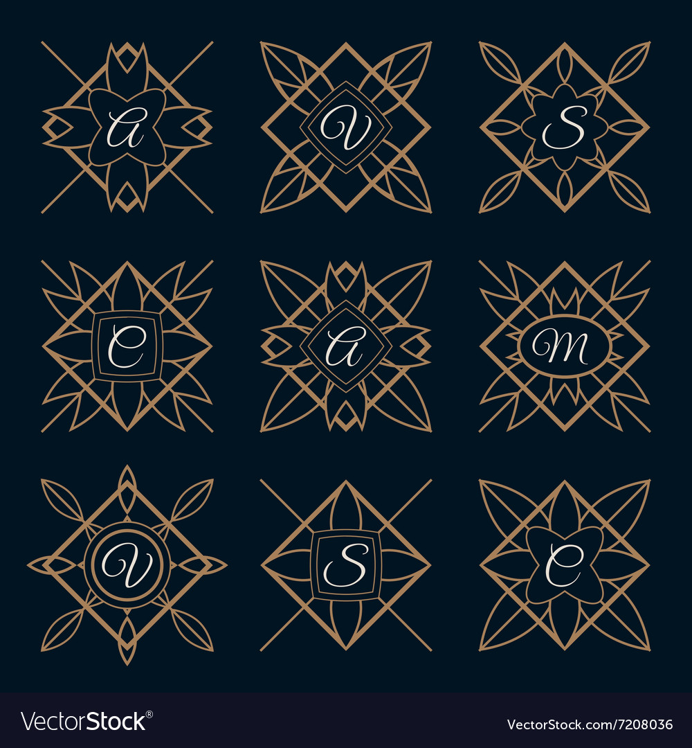 Set of monogram logo template with calligraphic