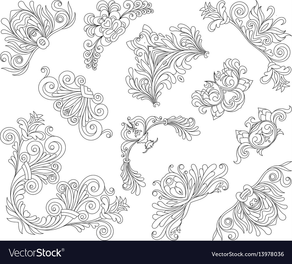 Vintage style design elements corners set