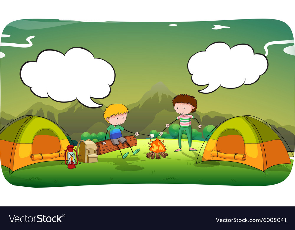 Boys camping out in the field vector image