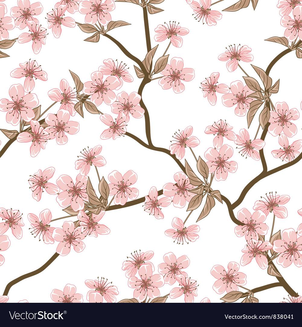 Cherry blossom background Seamless flowers pattern