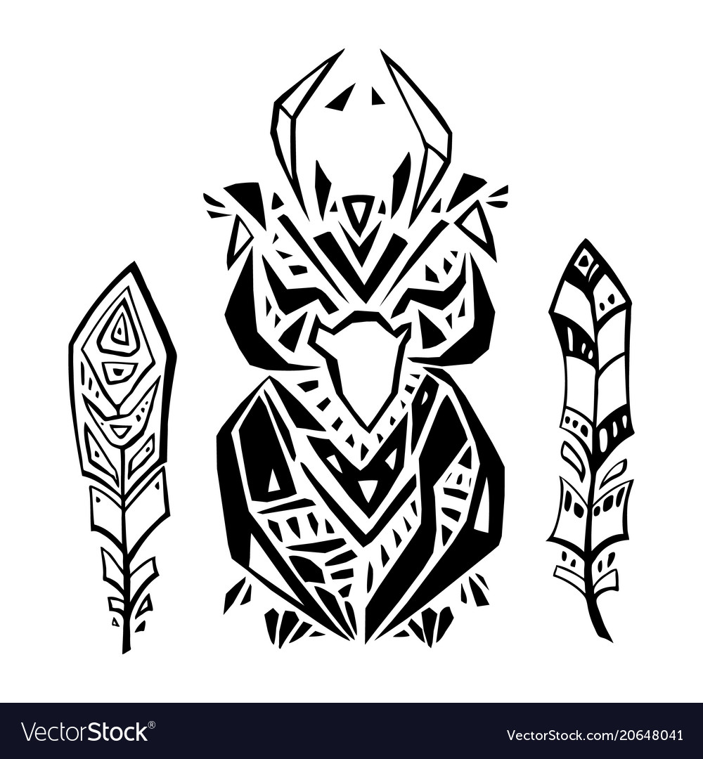Crow in ethnic style vector image