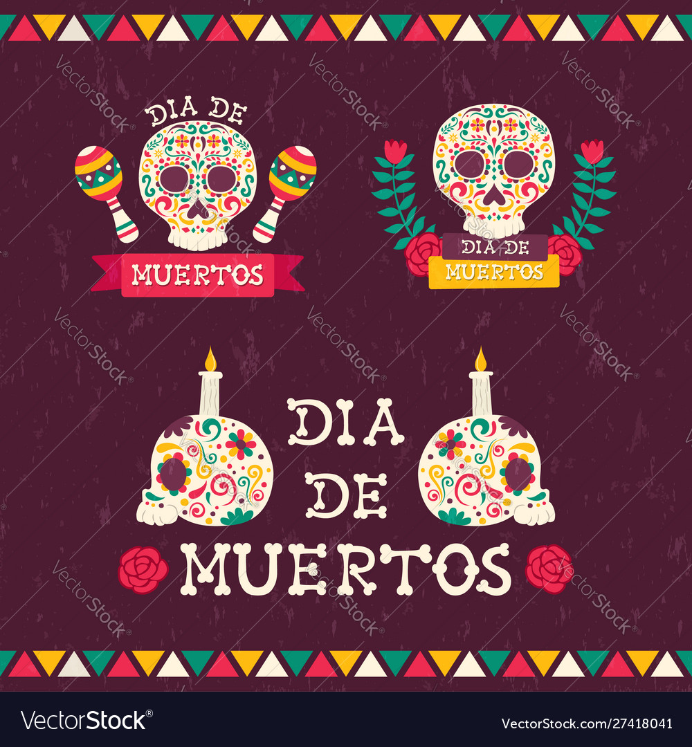 Day dead holiday sugar skull quote set