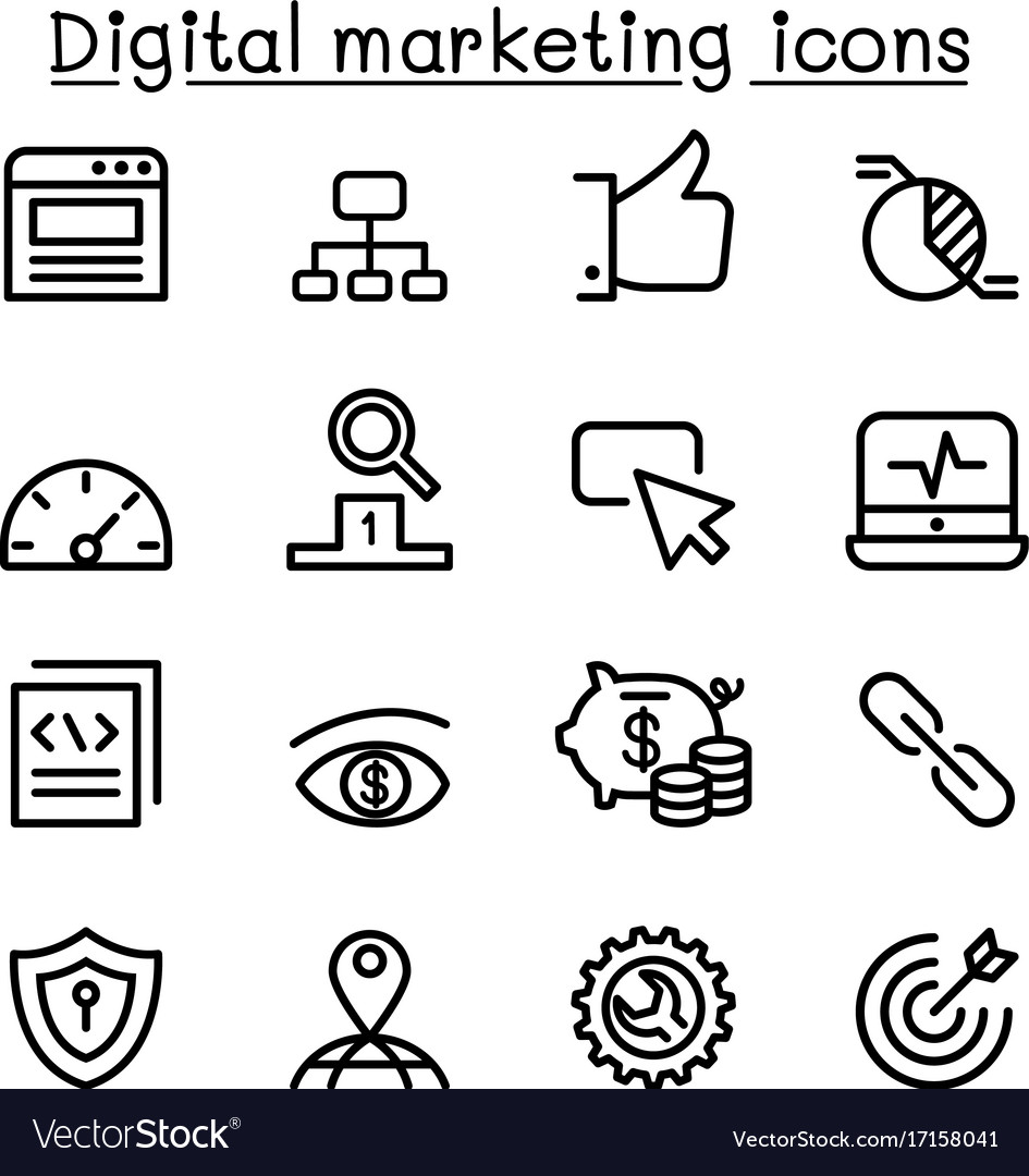 Digital marketing seo icon set in thin line style