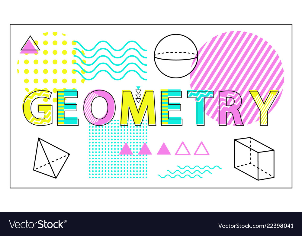 Geometry science banner isolated on white backdrop