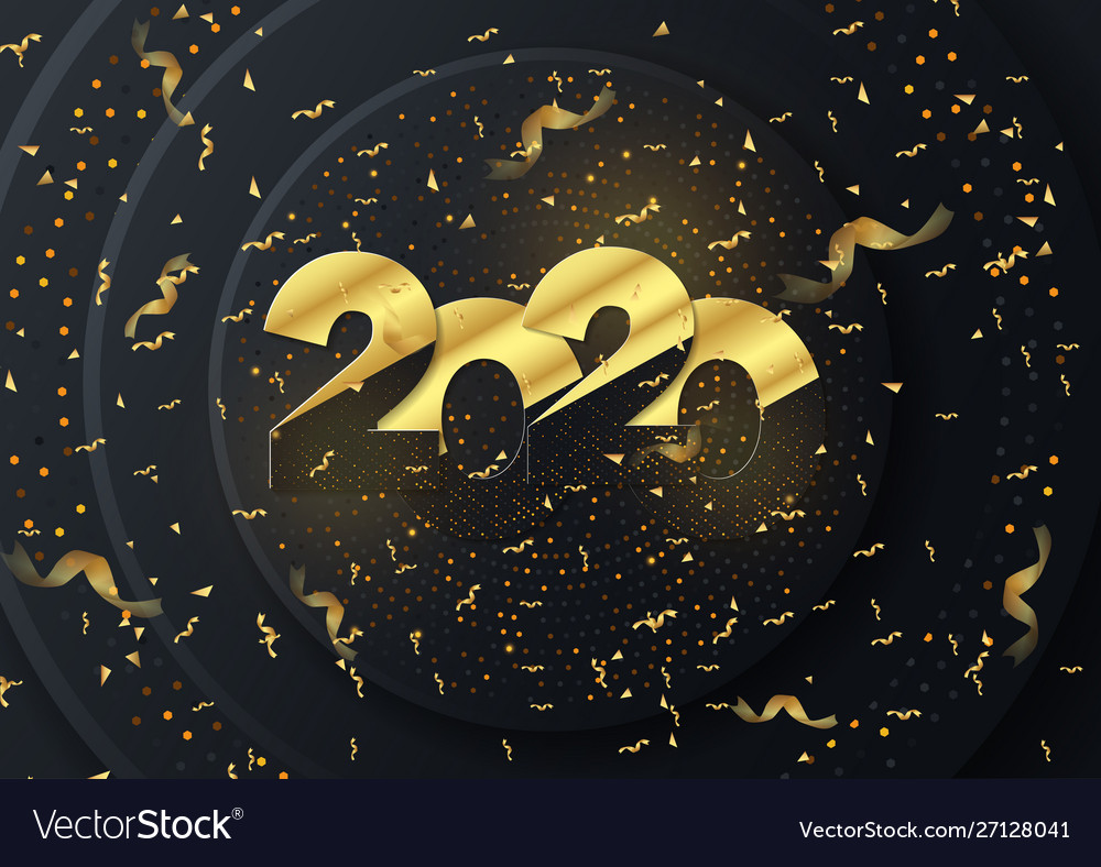 Golden luxury text 2020 happy new year