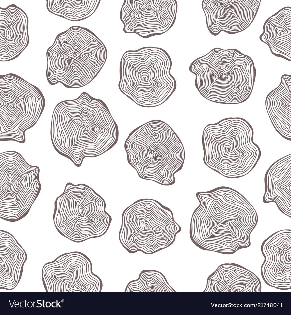 Hand drawn seamless pattern of wood cuts circle