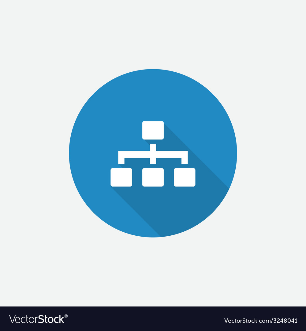 Hierarchy Flat Blue Simple Icon with long shadow