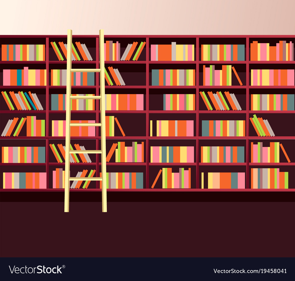 Library Bookshelves Wall Vector Image