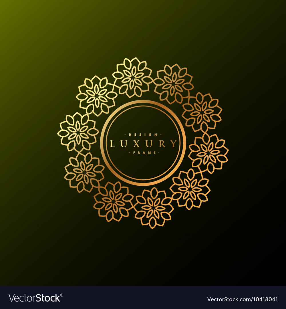 Luxury label made with golden flowers vector image