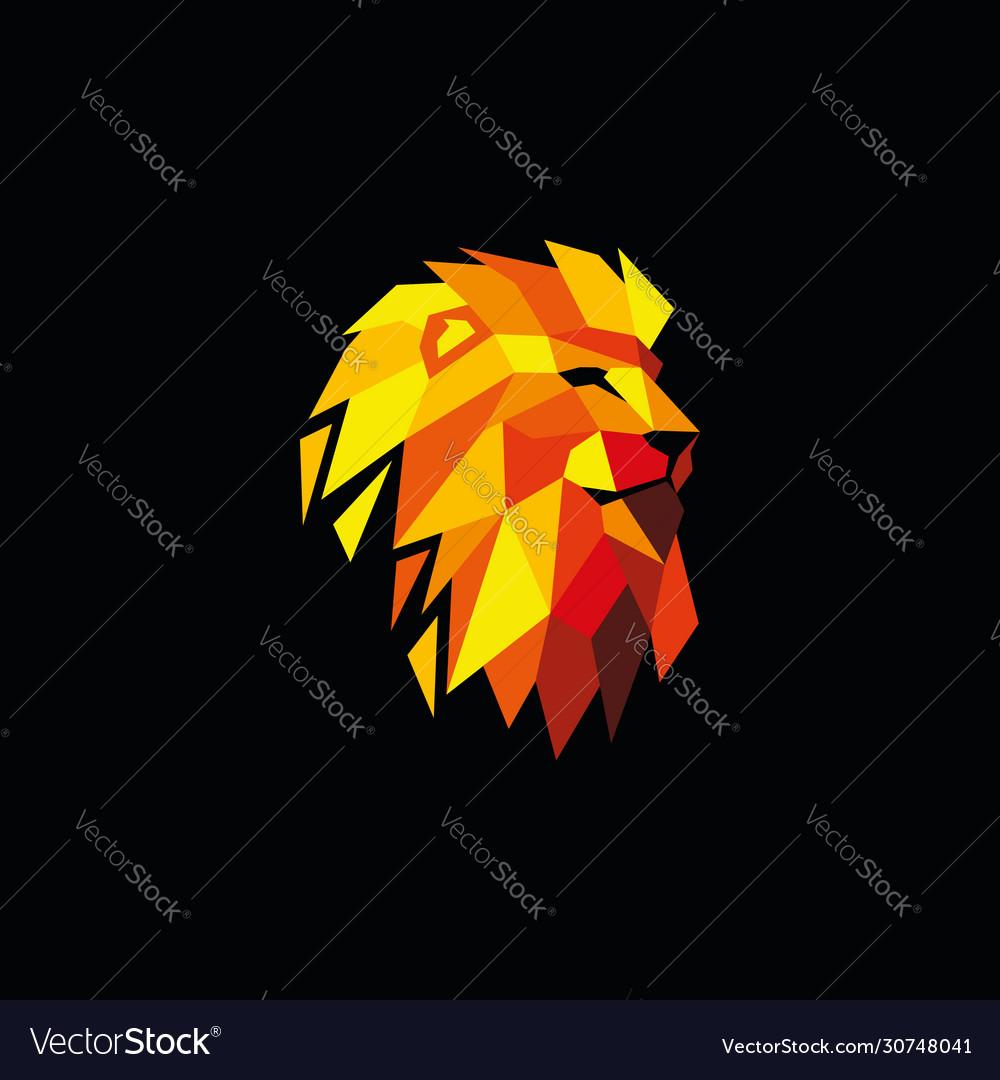 Multi-colored lion head logo design template
