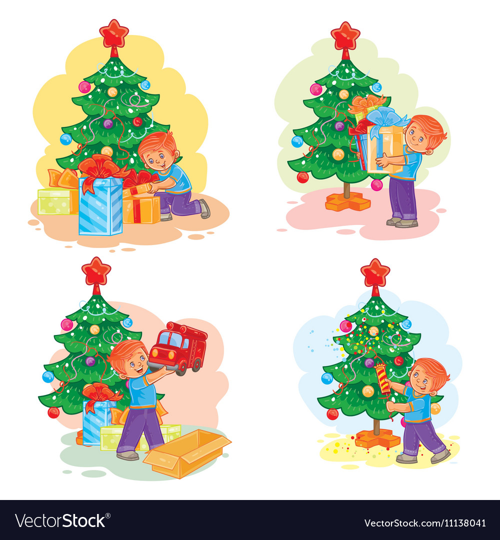Set of icons little boy opening Christmas presents