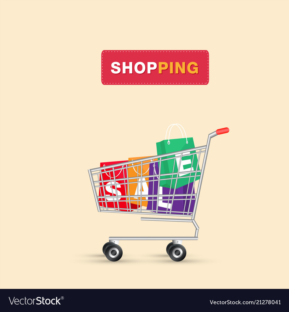 Shopping cart shopping sale bag background