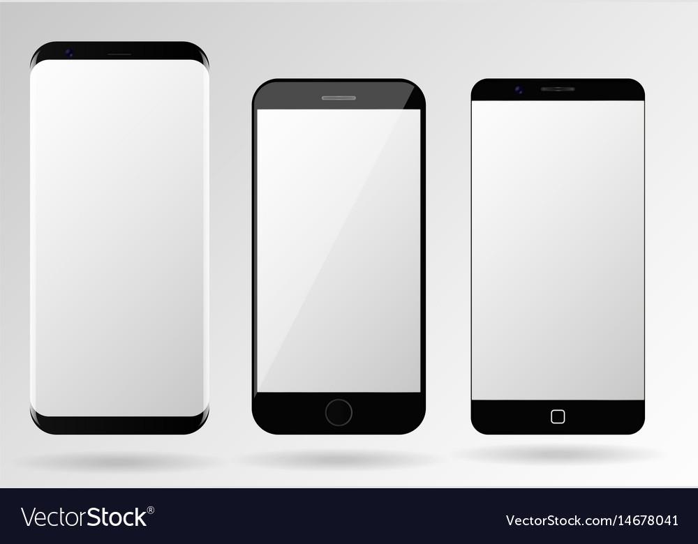 smartphone mockup blank mobile phone template vector image. Black Bedroom Furniture Sets. Home Design Ideas
