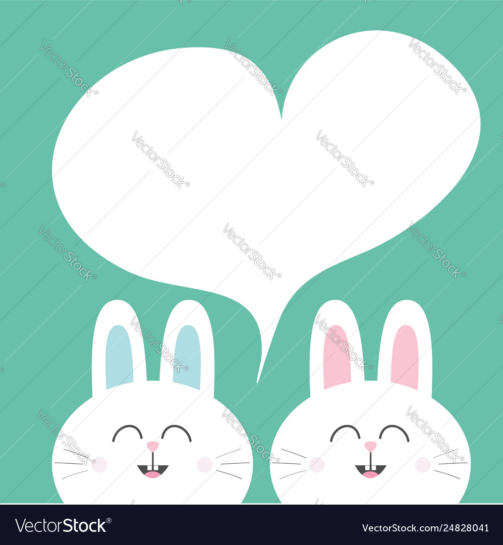 White bunny rabbit with long ears heart frame