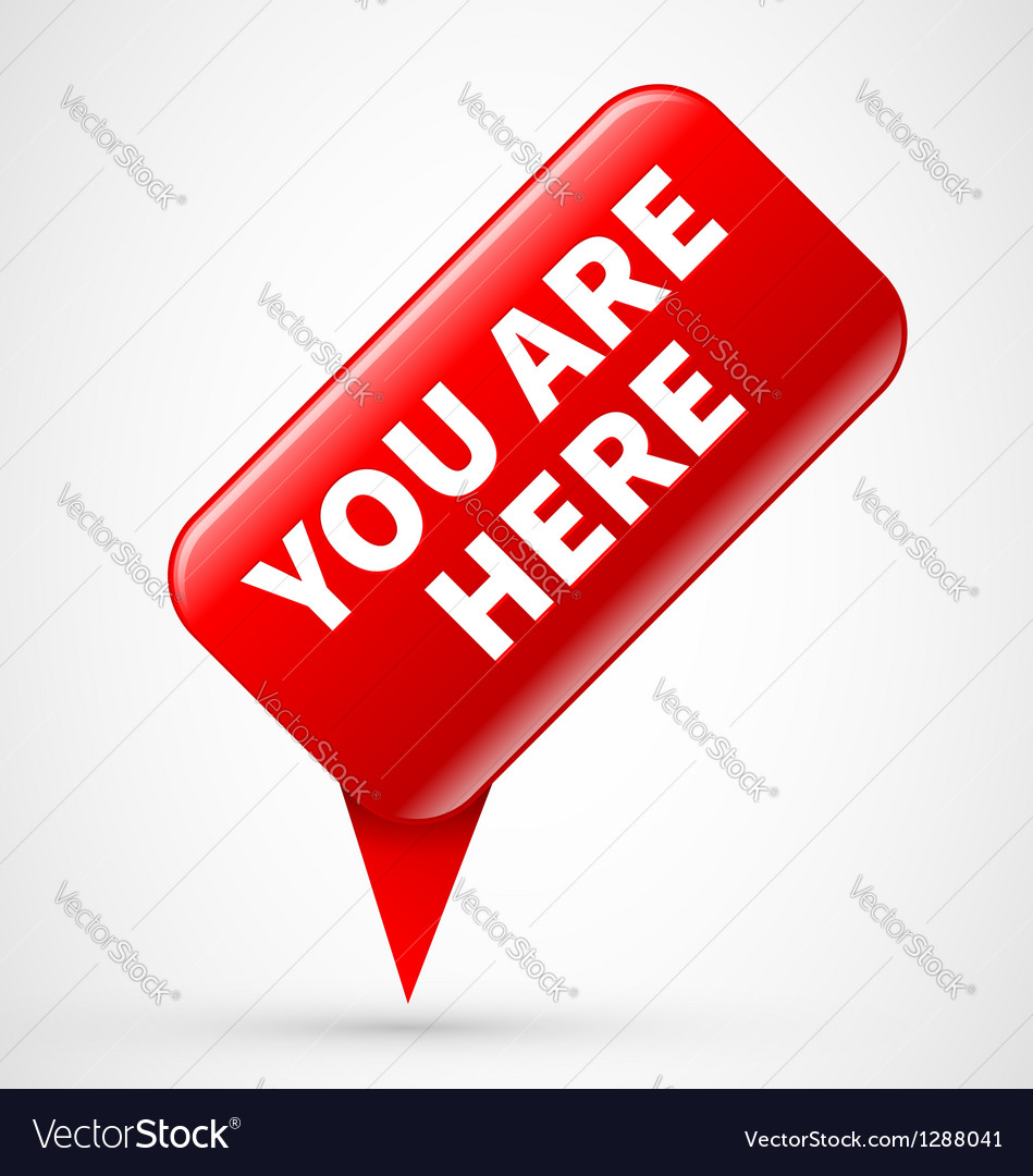 You are here sign vector image