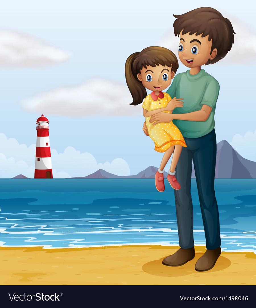 Картинки, картинка папа с дочкой нарисованные на торт