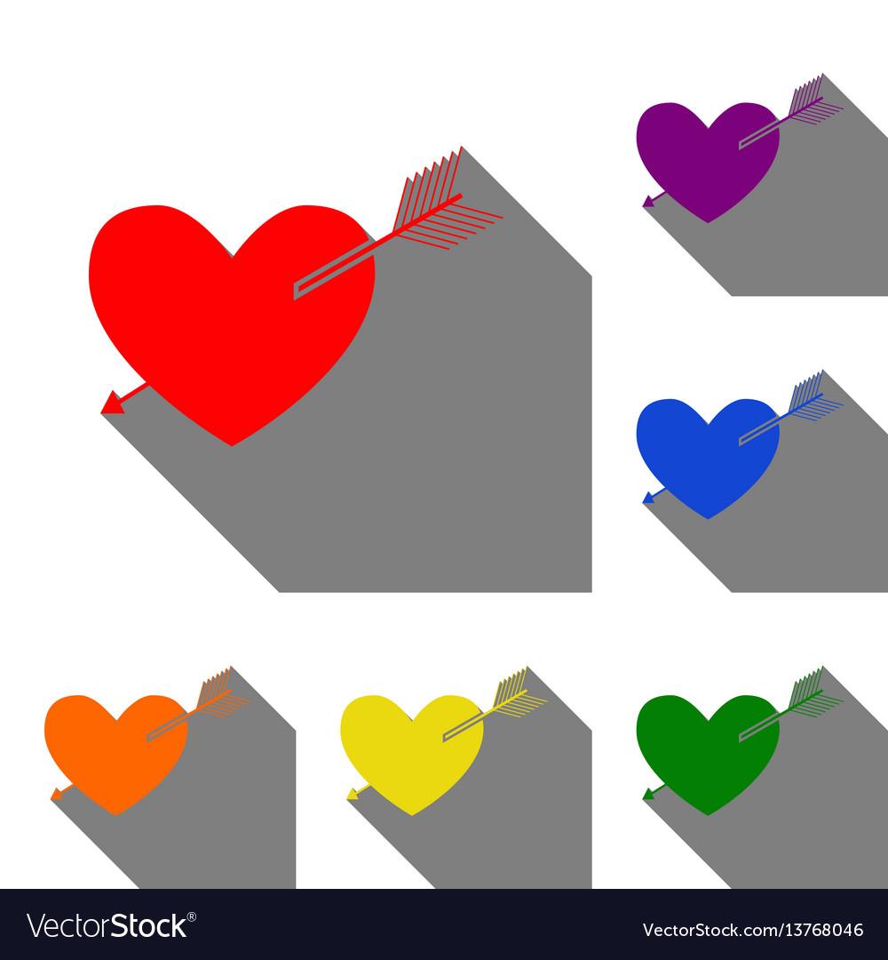 Arrow heart sign set of red orange yellow