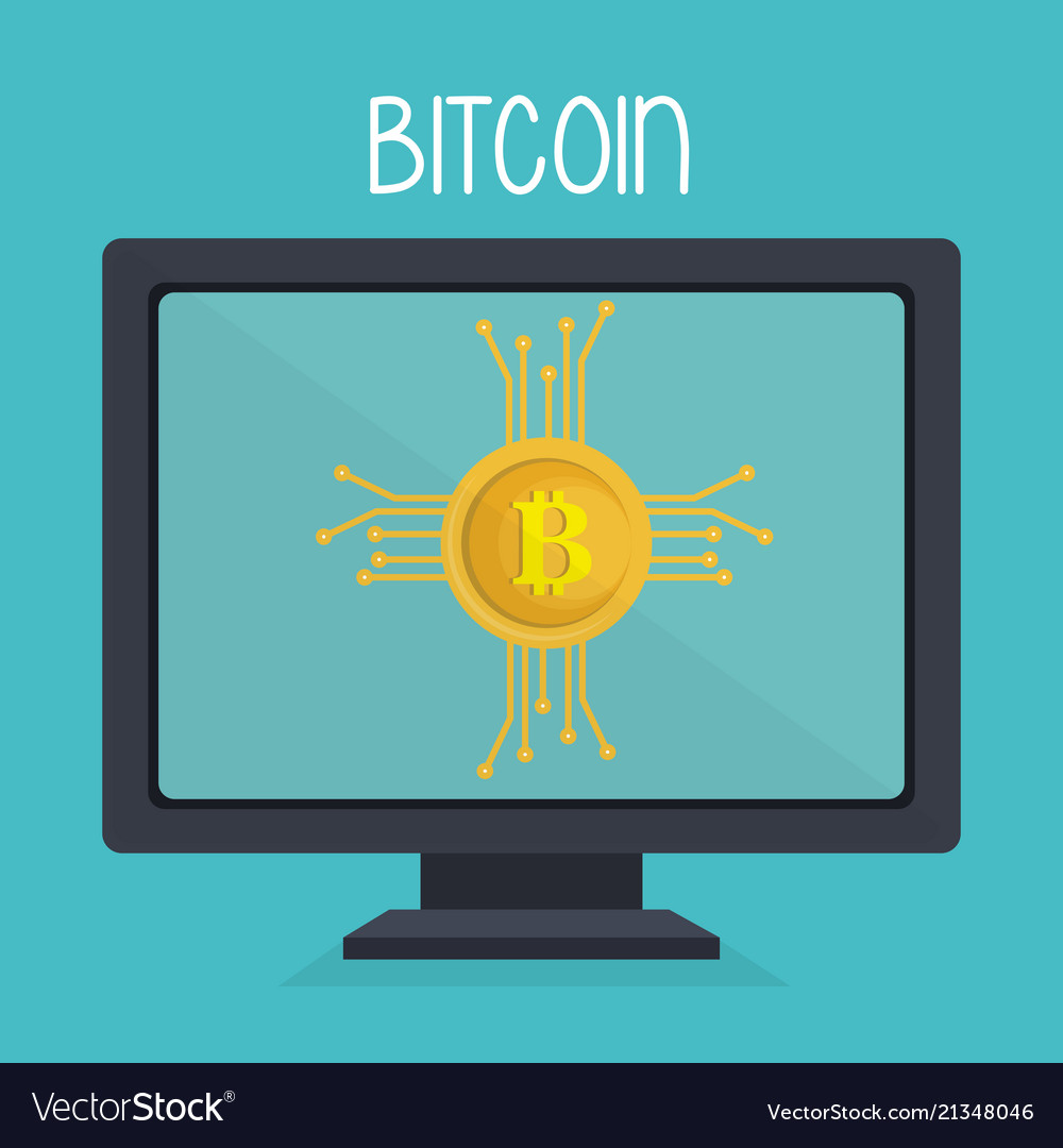 Bitcoin business with desktop computer