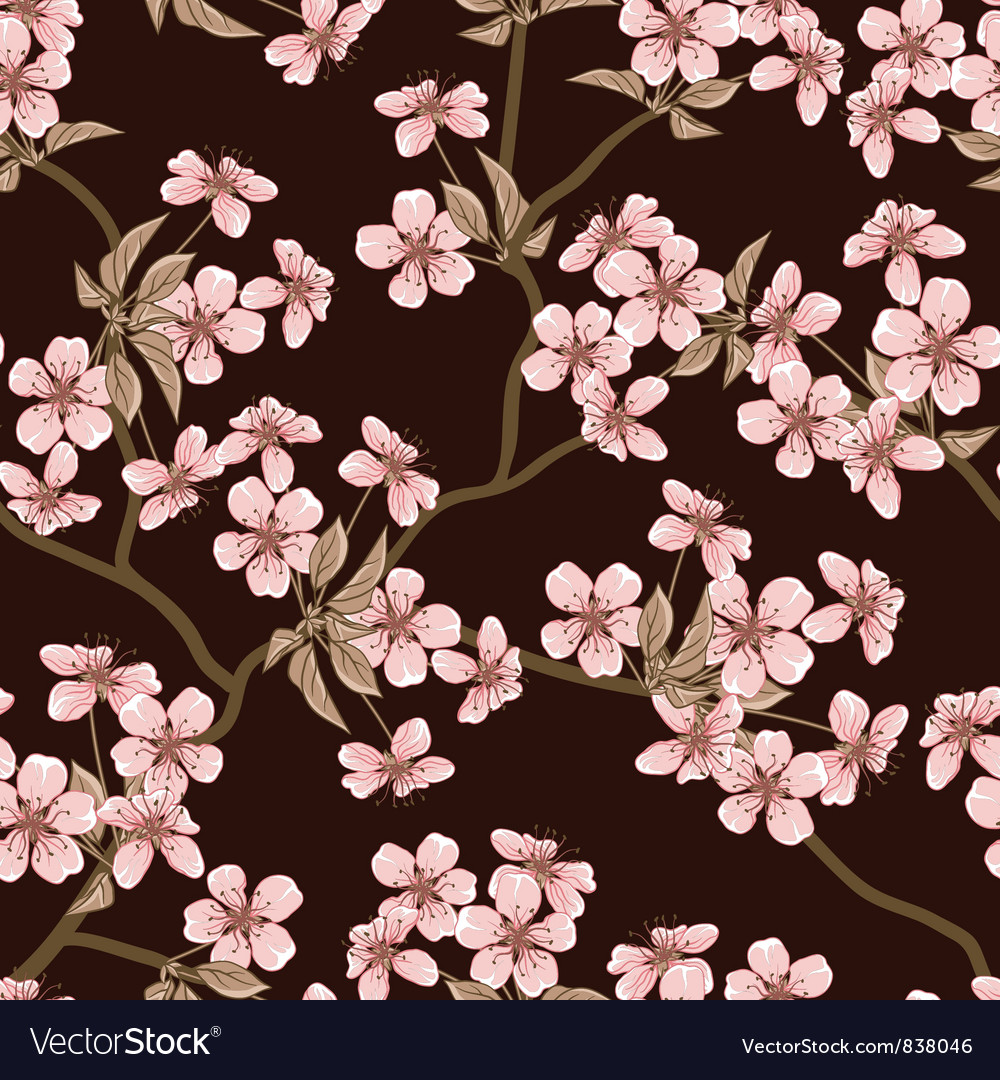 Cherry blossom background seamless flowers pattern cherry blossom background seamless flowers pattern vector image mightylinksfo