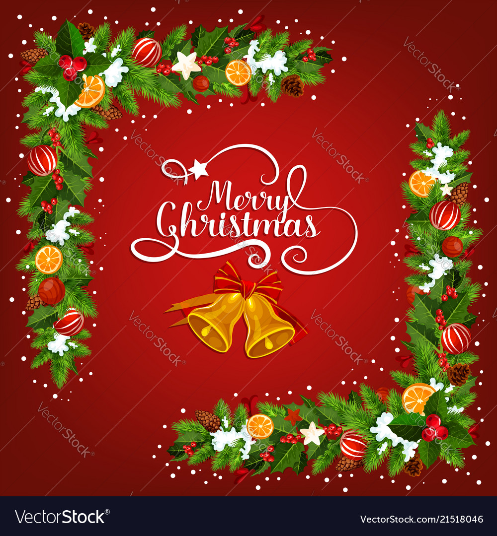 christmas bell greeting card with garland corner vector image