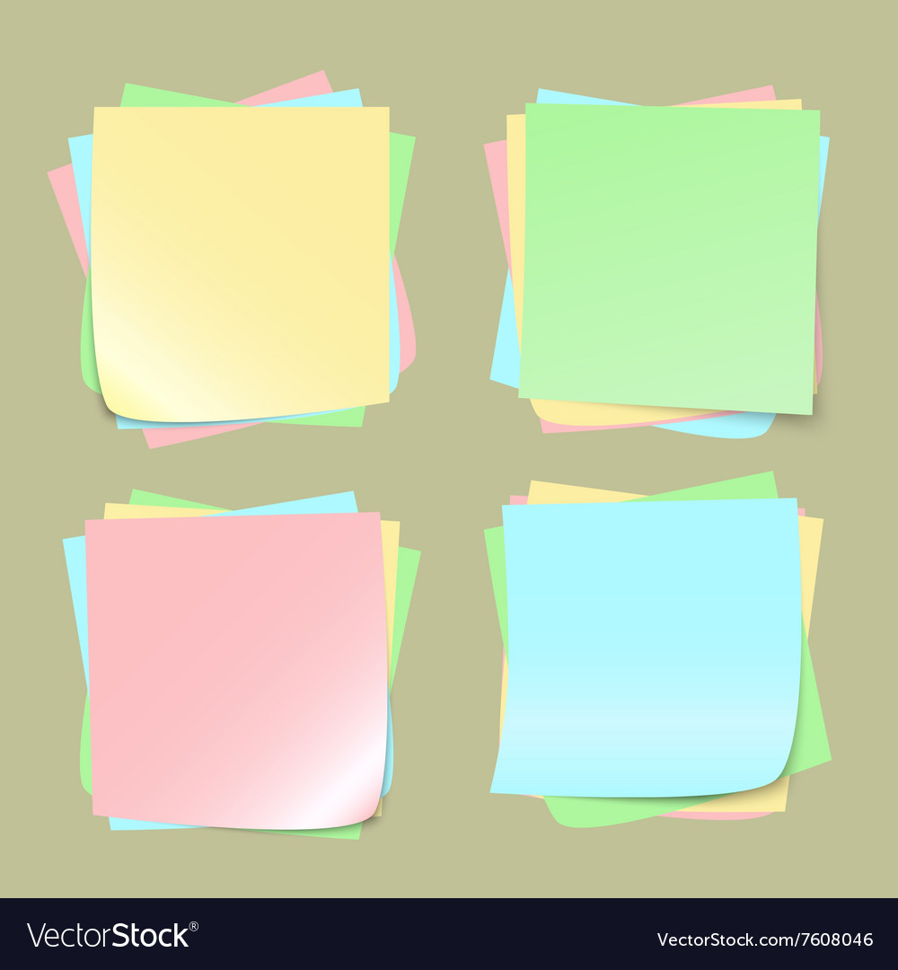 Color note papers on background