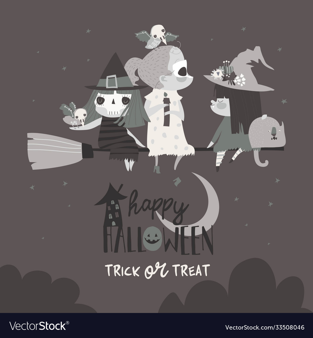 Cute halloween witches flying on broom in the