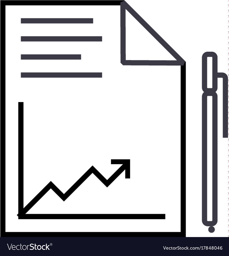 Document report with graph and pen line