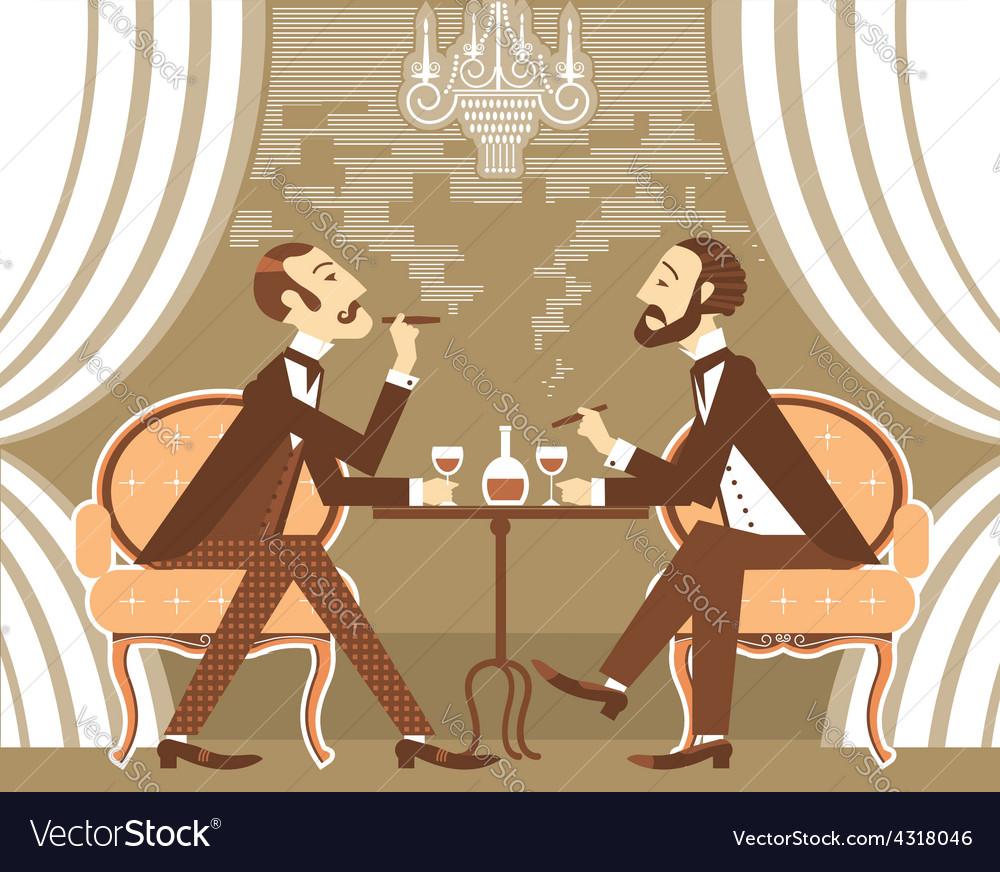 Gentlemen in tobacco smoke in club